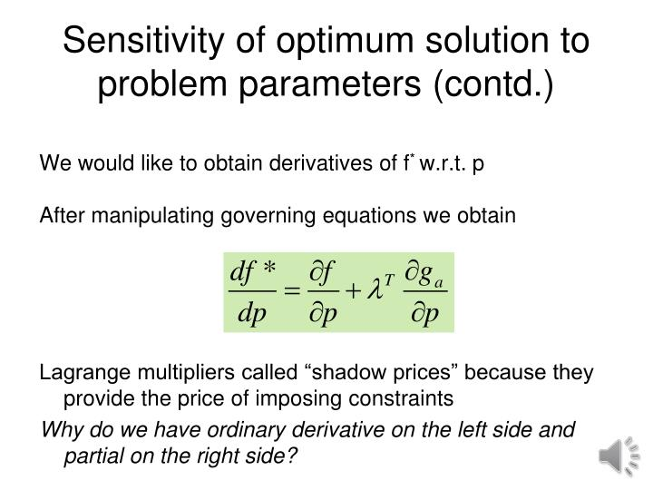 Sensitivity of optimum solution to problem parameters (contd.)