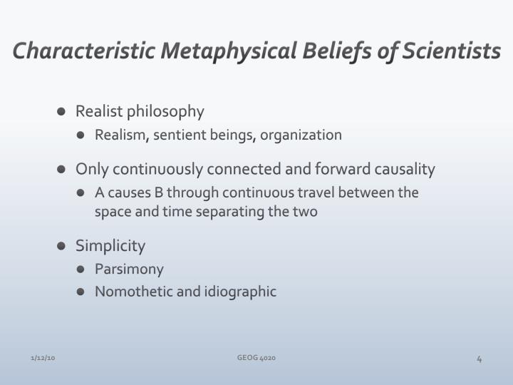 Characteristic Metaphysical Beliefs of Scientists