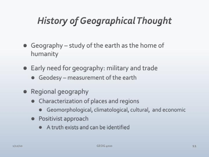 History of Geographical Thought