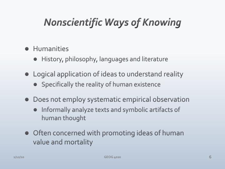 Nonscientific Ways of Knowing