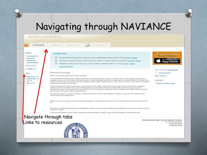 Navigating through NAVIANCE