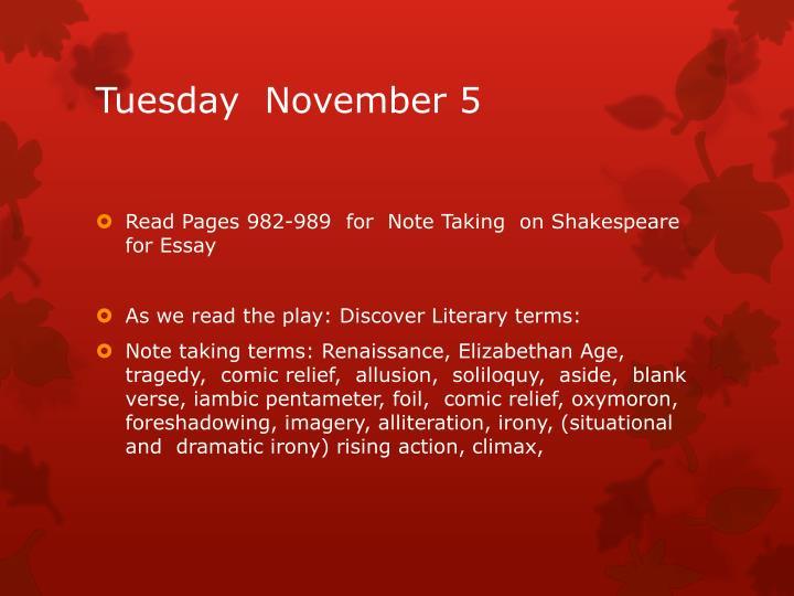 Tuesday  November 5