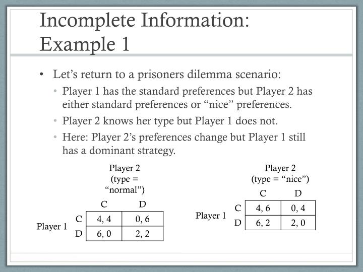Incomplete Information: