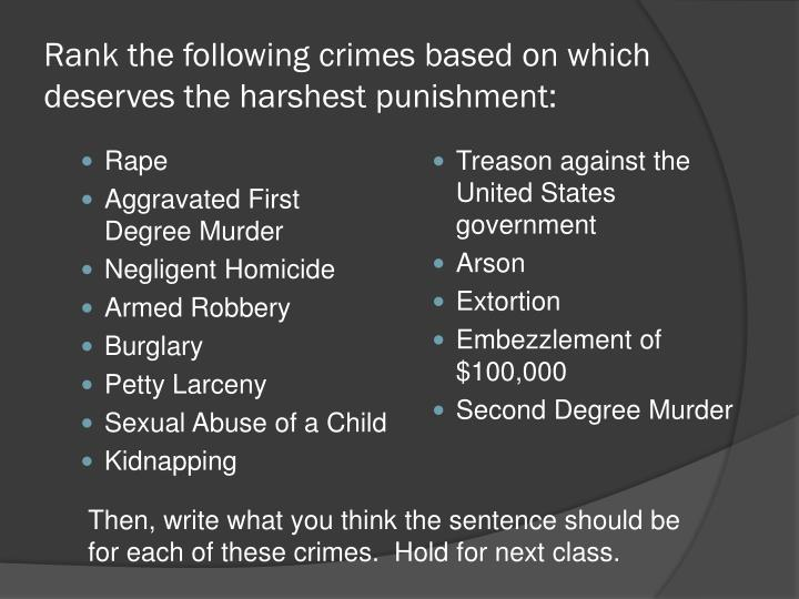 Rank the following crimes based on which deserves the harshest punishment: