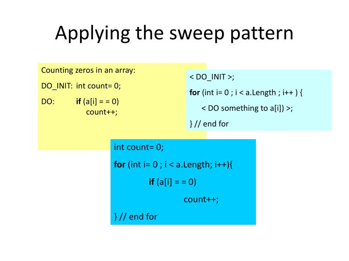 Applying the sweep pattern
