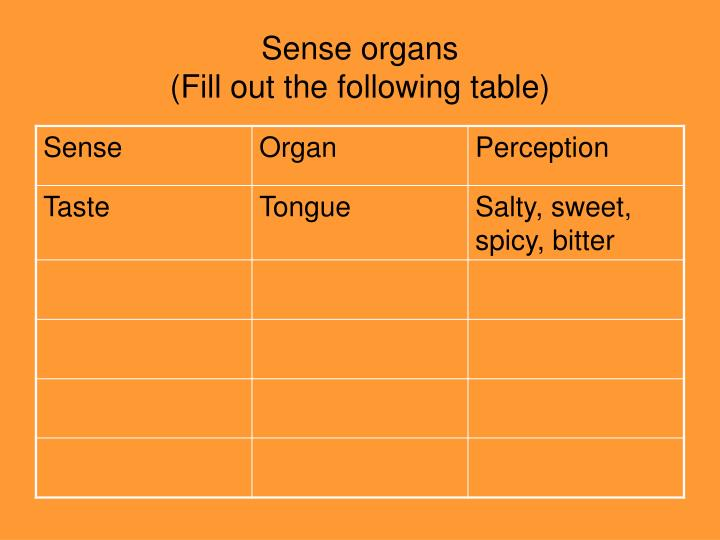 Sense organs fill out the following table