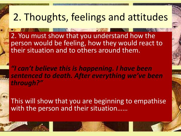 2. Thoughts, feelings and attitudes