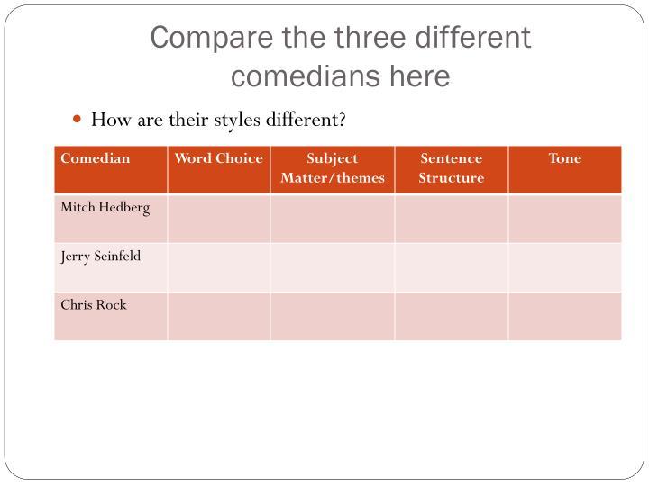 Compare the three different comedians