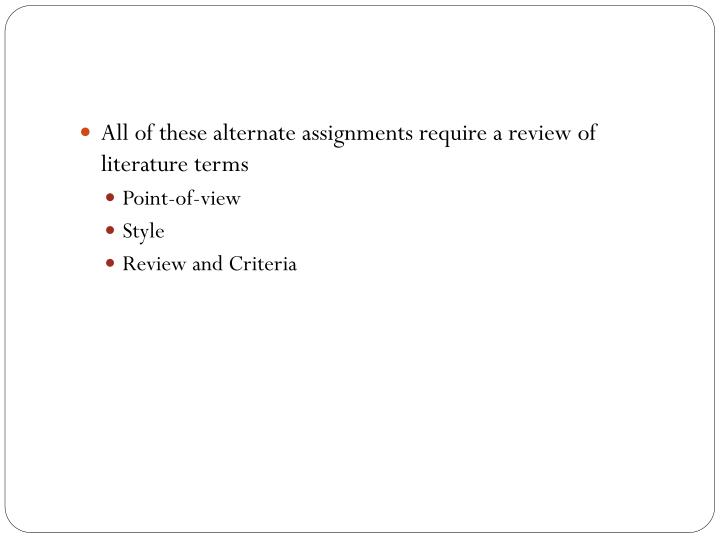 All of these alternate assignments require a review of literature