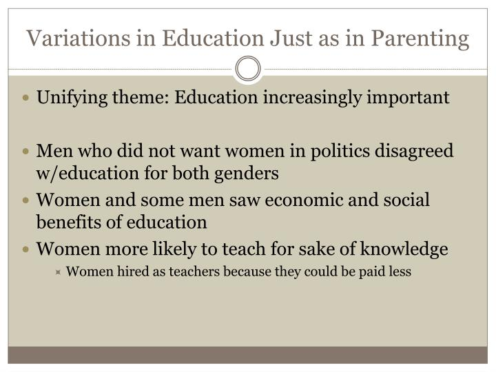 Variations in Education Just as in Parenting