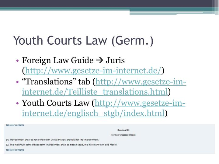 Youth Courts Law (Germ.)