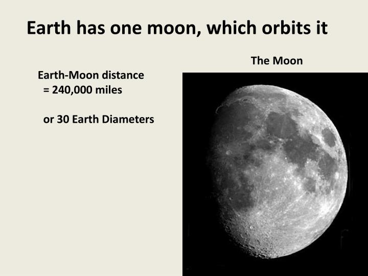 Earth has one moon, which orbits it