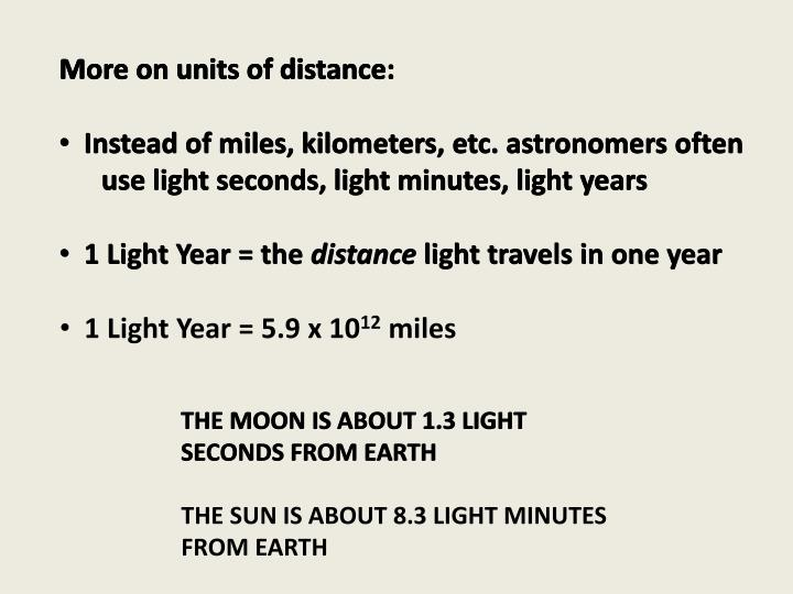 More on units of distance: