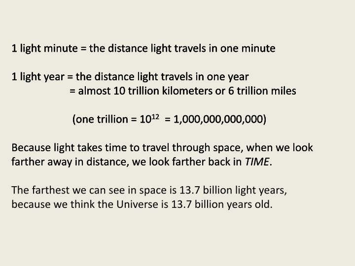 1 light minute = the distance light travels in one minute