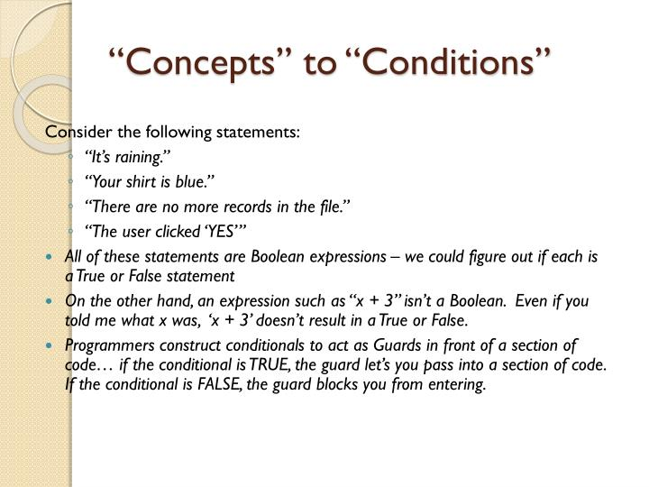 """Concepts"" to ""Conditions"""