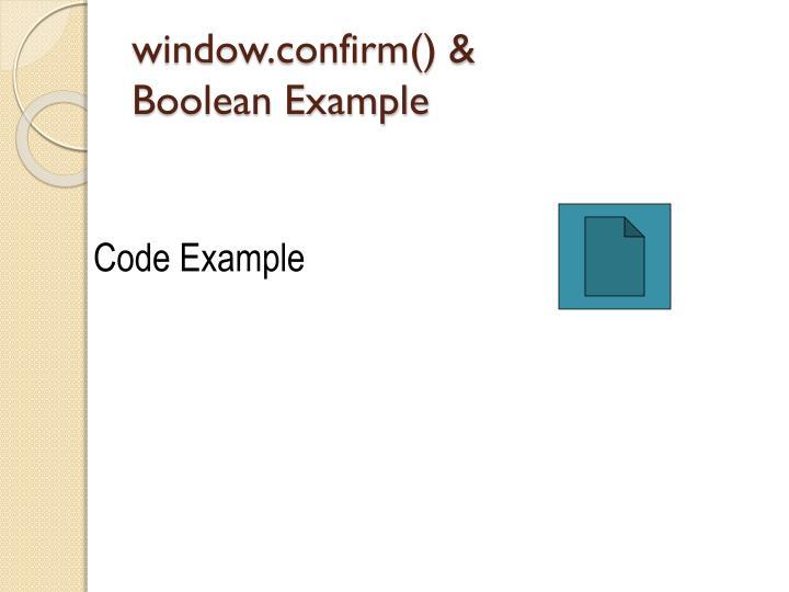 window.confirm() &