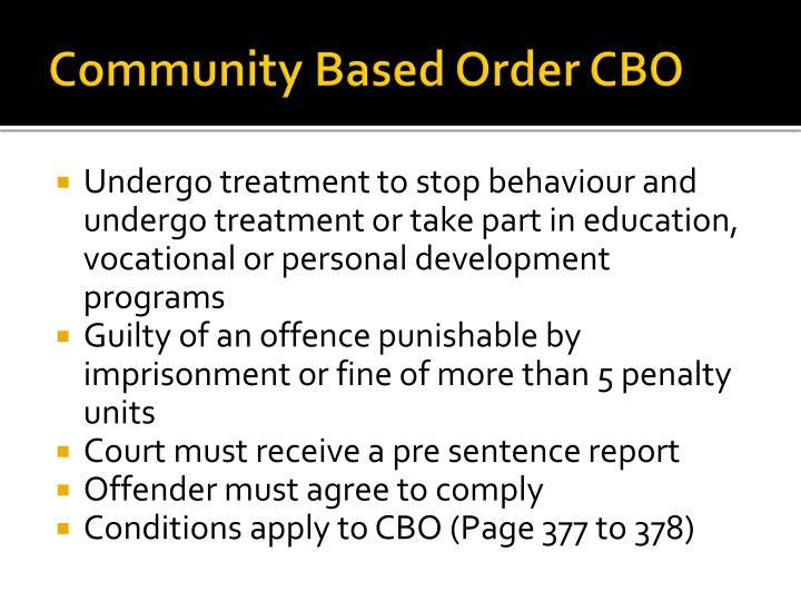 Community Based Order CBO