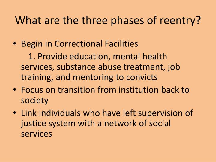 What are the three phases of reentry?