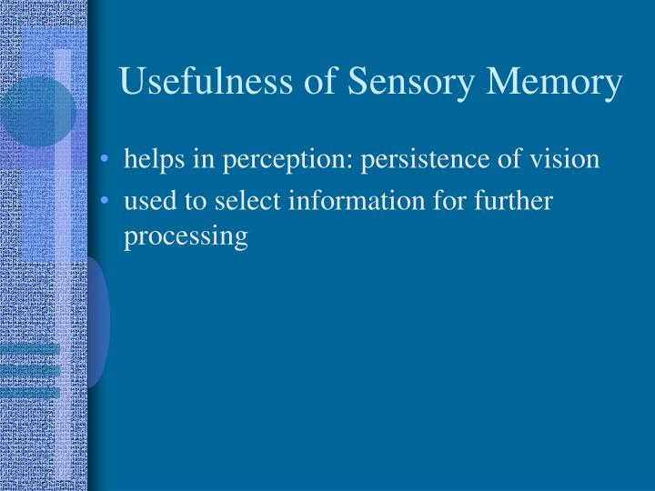 Usefulness of Sensory Memory