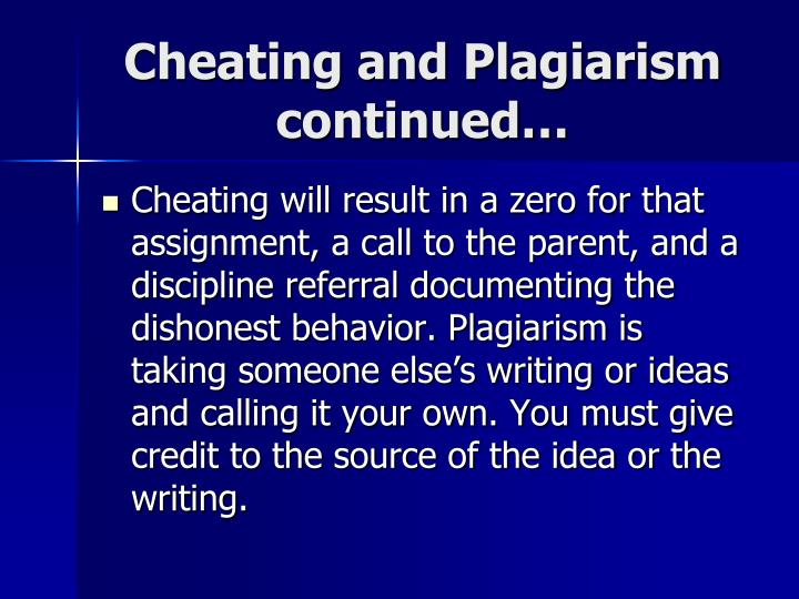 Cheating and Plagiarism