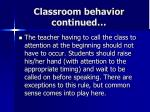 classroom behavior continued