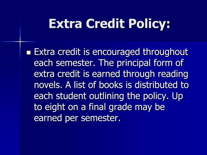 Extra Credit Policy: