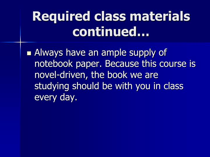 Required class materials