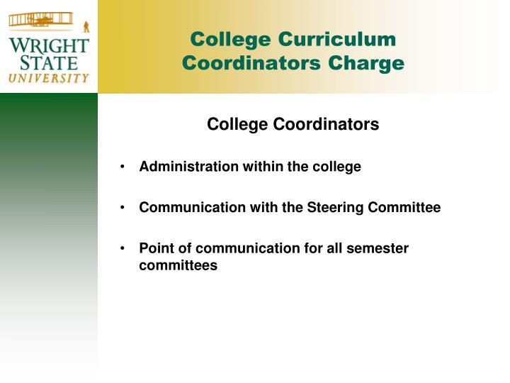 College Curriculum Coordinators Charge