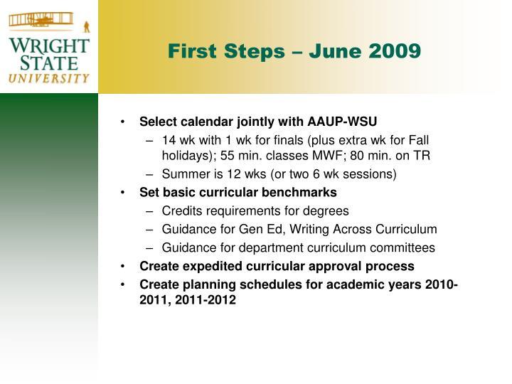 First Steps – June 2009