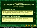 main idea 2 calls for women s rights met opposition from men and women