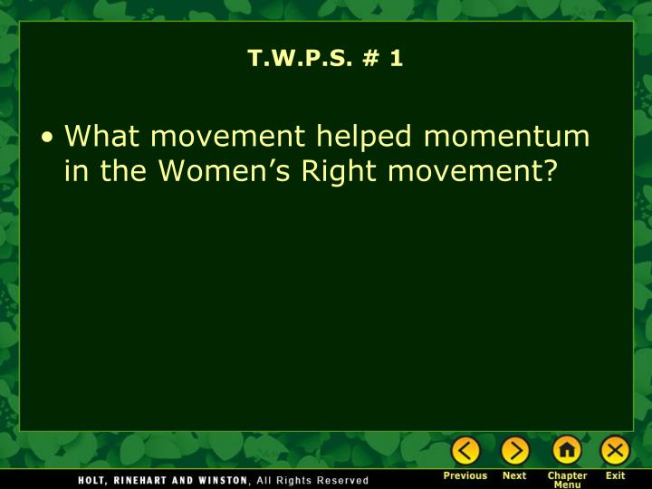 T.W.P.S. # 1