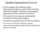 quality improvement failures