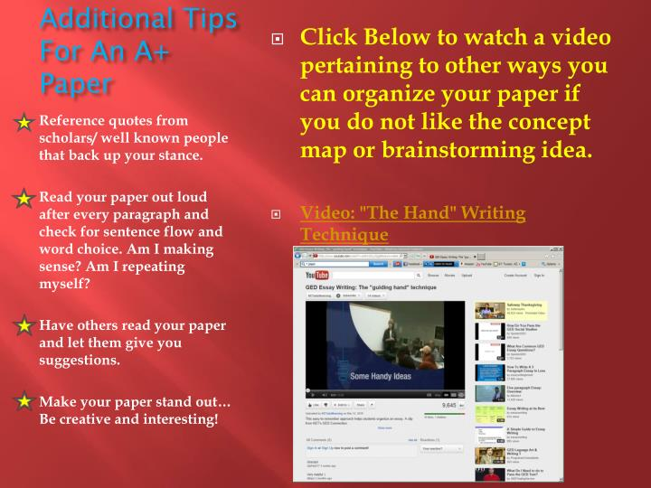 Additional Tips For An A+ Paper