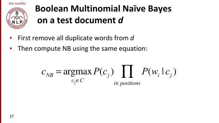 Boolean Multinomial Na