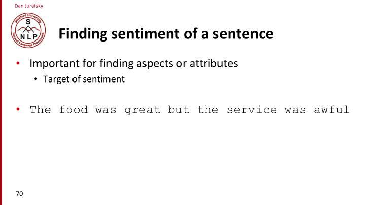 Finding sentiment of a sentence