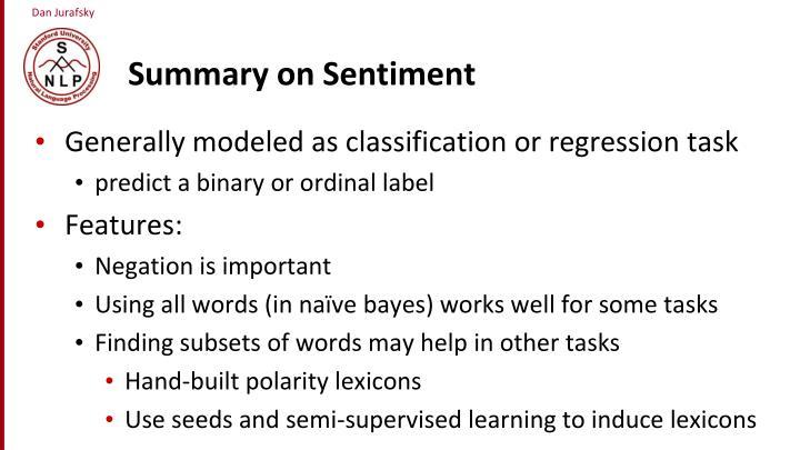 Summary on Sentiment