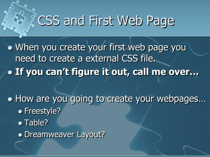 CSS and First Web Page