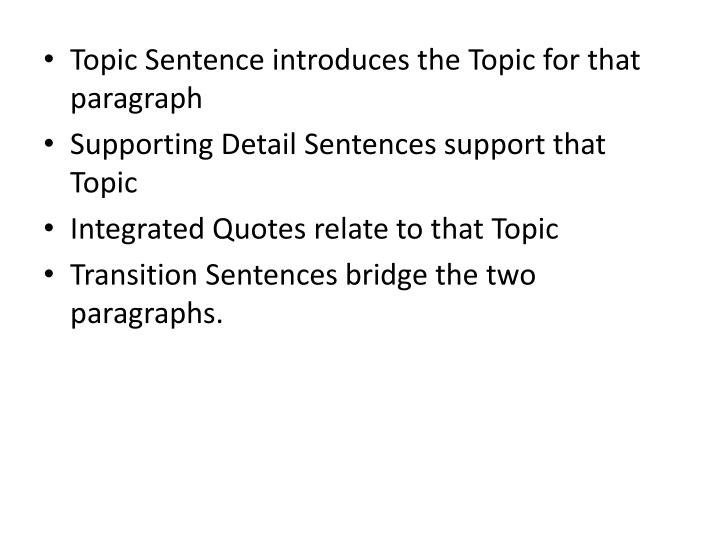Topic Sentence introduces the Topic for that