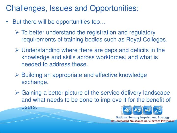 Challenges, Issues and Opportunities: