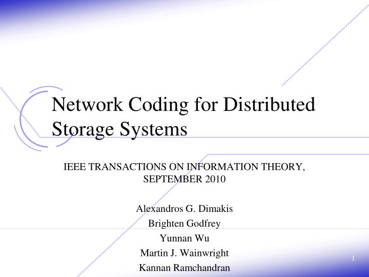 network coding for distributed storage systems