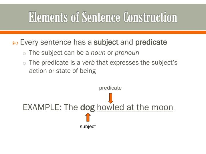 Elements of sentence construction