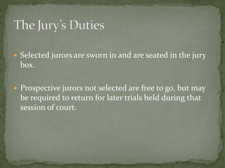 The jury s duties1