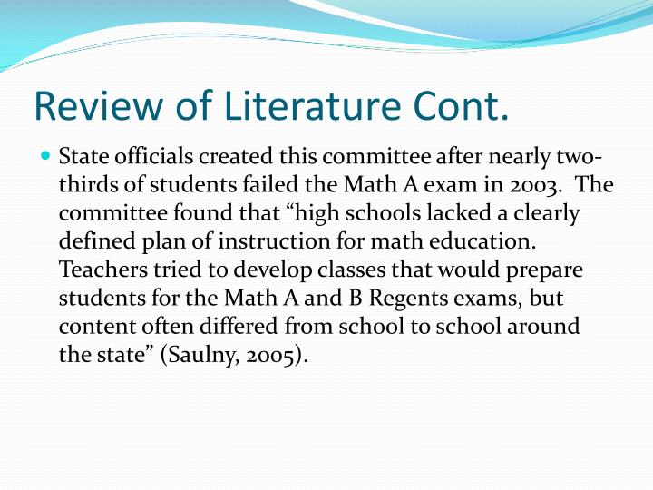 Review of Literature Cont.
