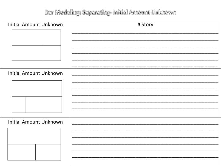Bar Modeling: Separating- Initial Amount Unknown