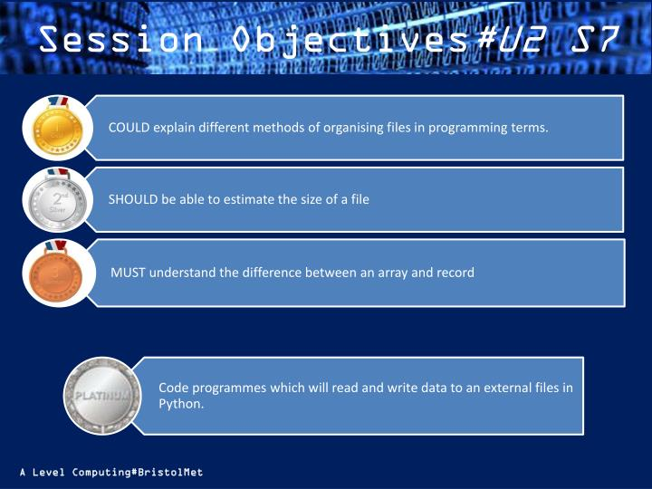 Session objectives u2 s7