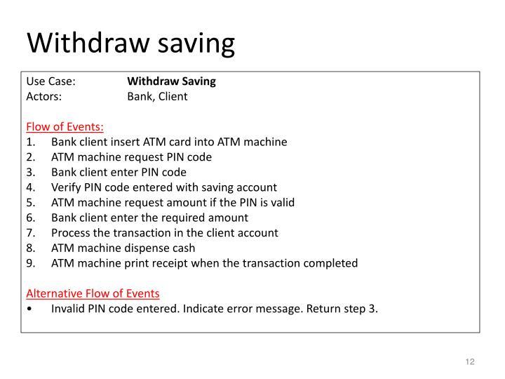 Withdraw saving