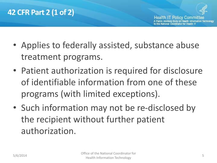 42 CFR Part 2 (1 of 2)