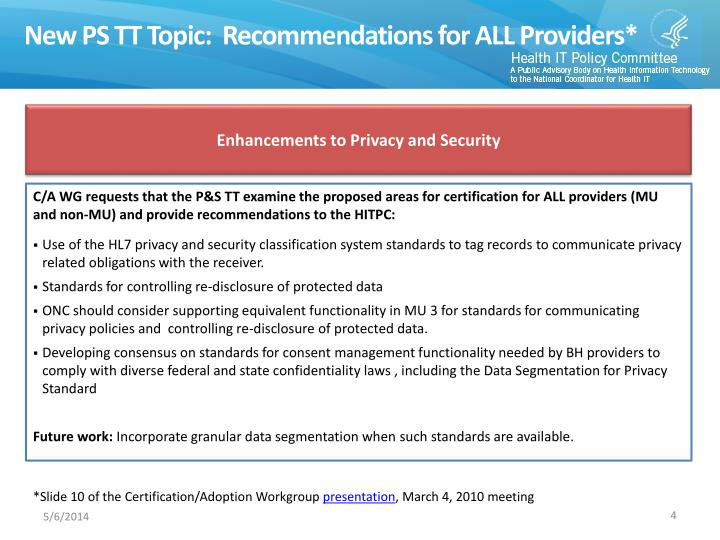 New PS TT Topic:  Recommendations