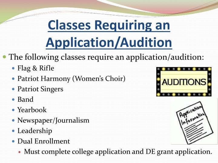 Classes Requiring an Application/Audition