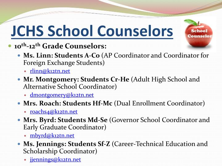 Jchs school counselors